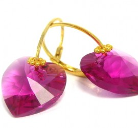 Purple Faceted Swarovski Gold Plated Earrings
