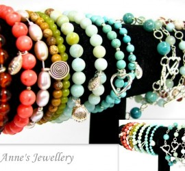 Gemstone Sterling Silver Wire Wrapped & Elastic Bracelets