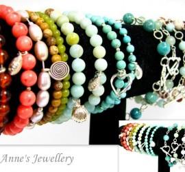Gemstone Sterling Silver Wire Wrapped & Elastic Bracelets
