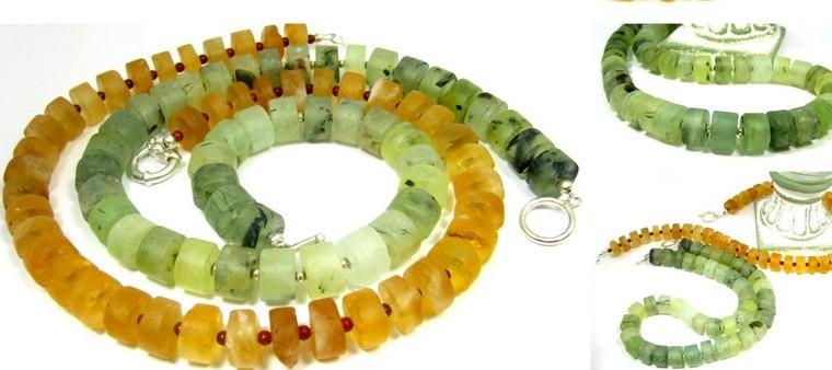 Prehnite Sterling Silver Gemstone Necklaces