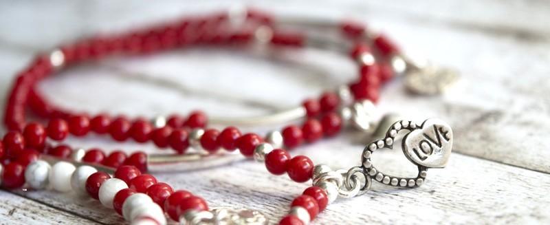 Red Coral Magnesite Sterling Silver Friendship Bracelets