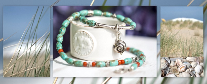 Turquoise & Coral Sterling Silver Oxidized Necklace