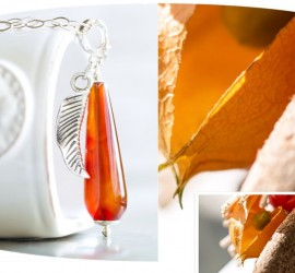 Orange agate sterling silver pendant