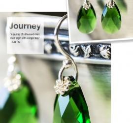 Green Swarovski Sterling Silver Earrings