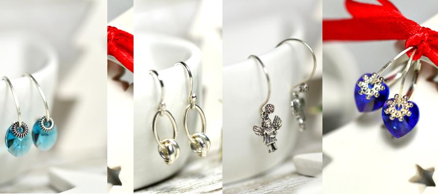 sterling silver Christmas earrings