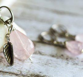 Rose Quartz Oxidized Sterling Silver Pendant & Earrings